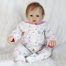 Realistic Newborn About 22″ 52~55cm Handmade Lifelike Newborn Baby Doll Reborn Soft Silicone Vinyl Hair Rooted Gift for Girl