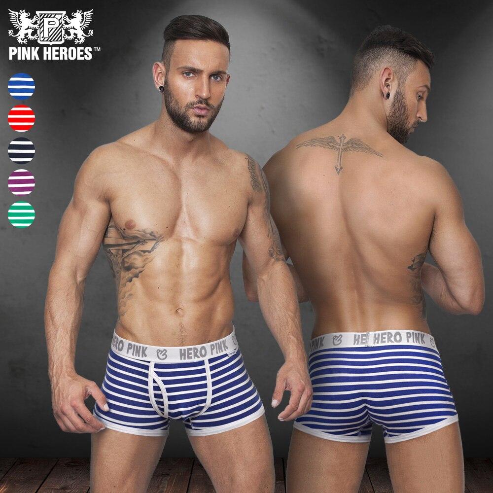 5pcs/Lot Pink Heroes Classic Fashion Underwear Men Boxers Cotton Male Panties Striped Underpants Comfortable 5 Color M/L/XL/XXL