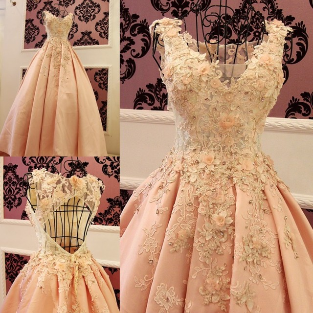 Sleeveless Peach Evening Dresses Puffy Ball Gowns Satin With Flowers ...