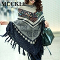 Mcckle moda mujer tirón suéter pullover cardigan de mujeres capas y ponchos invierno suéter del cabo con borla bohemia de la vendimia