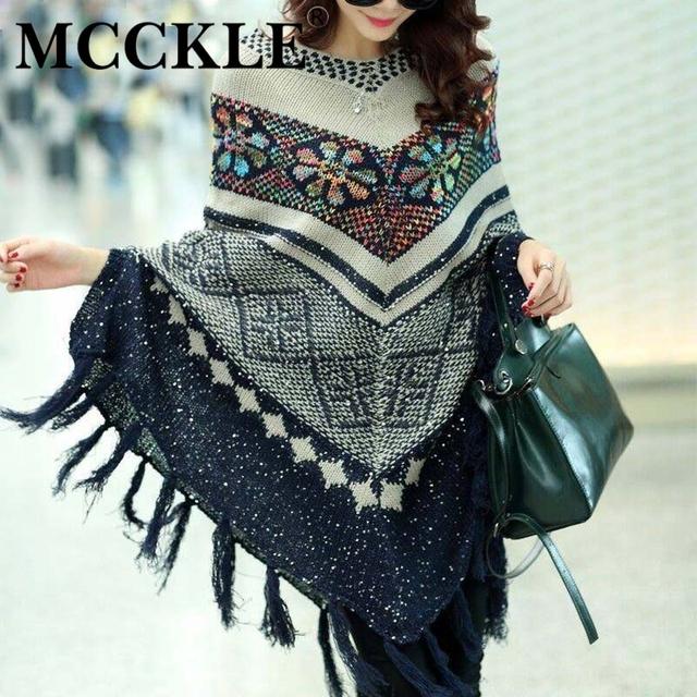 Mcckle puxar camisola da forma das mulheres pulôver cardigan das mulheres capas e ponchoes inverno capa com borla do vintage boêmio camisola