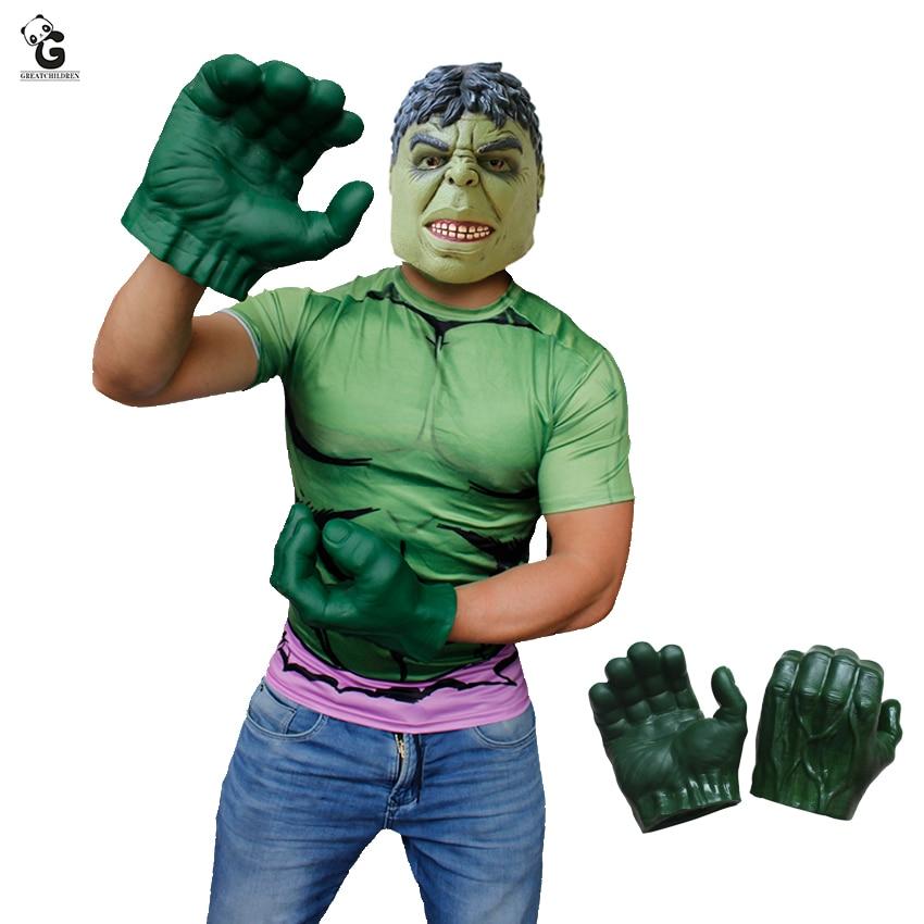 Hulk Gloves Green Marvel Superhero Avengers Halloween Adult Costume Accessory