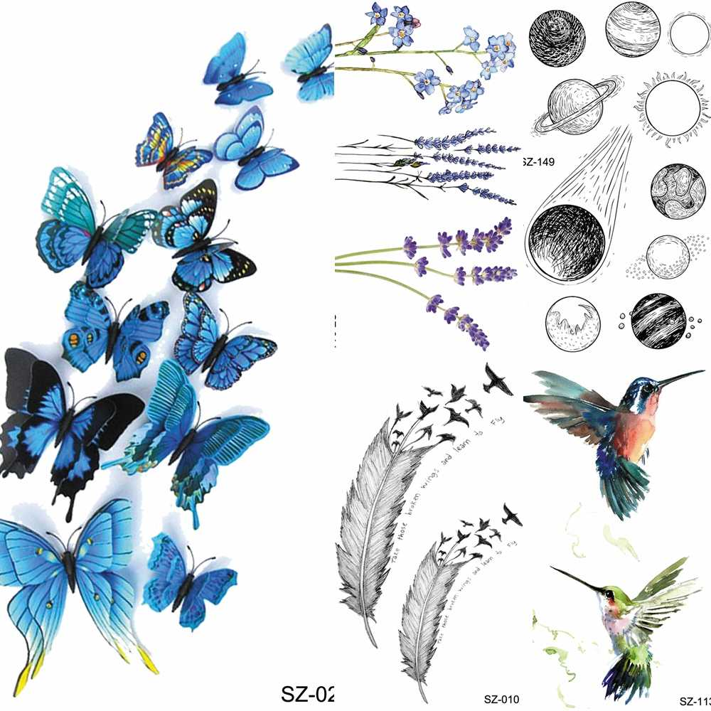 f81c8feedd388 Women DIY Tattoos Temporary Girl Body Arm Chest Blue Butterfly Tattoos  Stickers Fake Neck Water Transfer