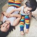 1-5Y Pantalones de Invierno Bebé de Punto Pantalones Polainas de Las Muchachas Del Arco Iris de Los Bebés Embroma la Ropa de Algodón Casual Pantalones Largos Ropa Childen