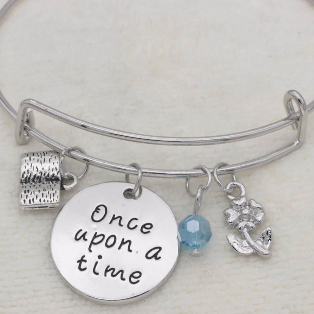 Fashion teachers gift bracelet crystal Jewelry book flower once upon a time adjustable Bangle B1029