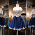 Stylish Short Navy Blue Cocktail Dresses Tulle Prom Dresses with Gold Appliques Sweetheart Backless Party Gowns 2016