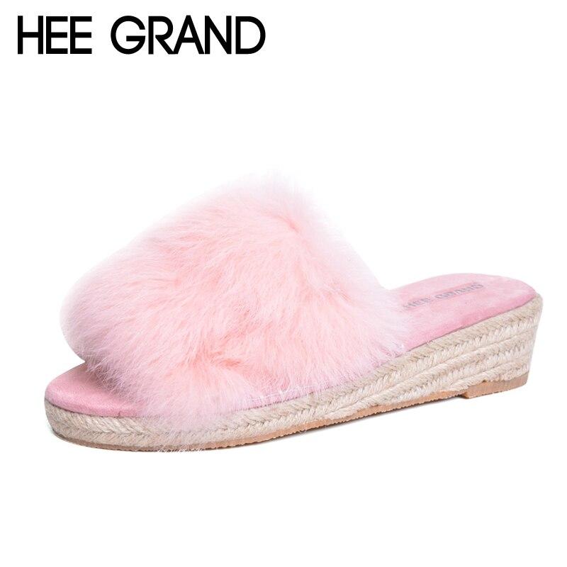 9dd9b25cc Hee Grand/сладкий искусственного меха Шлёпанцы для женщин повседневные  туфли на танкетке Женская обувь без застежек зимние теплые однотонные  модная женская ...