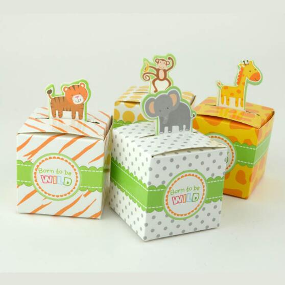 12PCS/Lot 4 Types DIY Safari Animal Candy Gifts Box Boy/Girl Kids Birthday Baby Shower Favors Decoration Event & Party Supplies