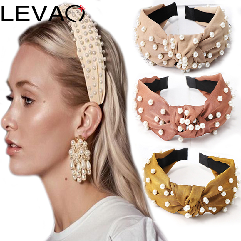 LEVAO Korean Fashion Women Pearl Vintage Wide Size Solid Knotted Bezel Turban Headband Hairbands Girls Hair Accessories Headwear