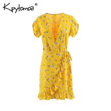 b7ec375008a42 Buy floral wrap dress bow tie and get free shipping on AliExpress.com
