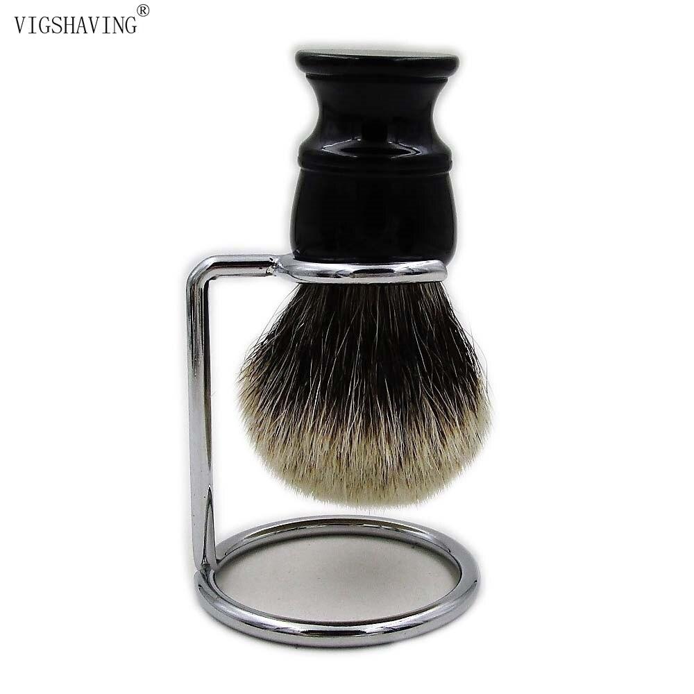VIGSHAVING Black Resin handle Finest badger Hair Shaving Brush ds 2 band 100% finest badger hair shaving brush & classic black resin handle 30mm knot