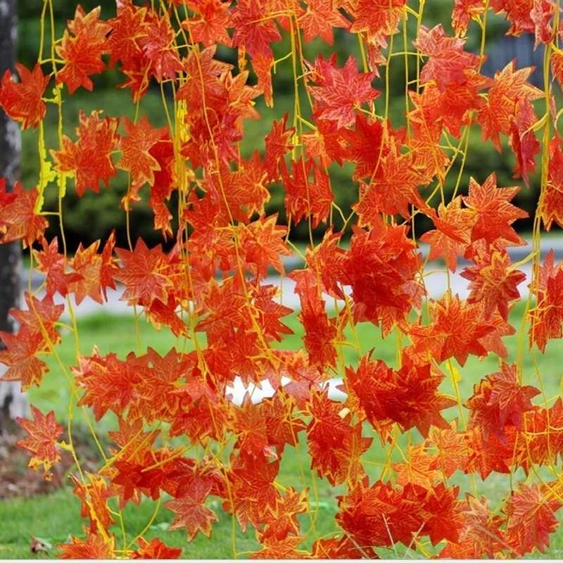 1X Grande Artificiale Autunno Maple Leaf Ghirlanda di Seta Della Vite Wedding Garden Decor