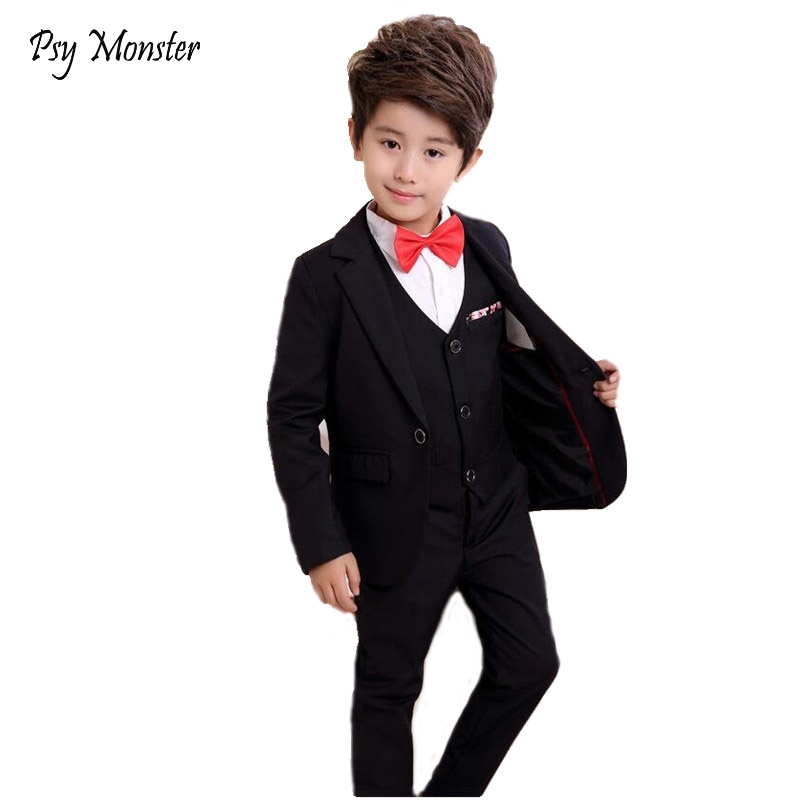 Flower Boys Gentleman Wedding Suit 3pcs School Kids Blazer+Vest+Pant Brand Quality Children Formal Birthday Clothing Set F85 kids spring formal clothes set children boys three piece suit cool pant vest coat performance wear western style