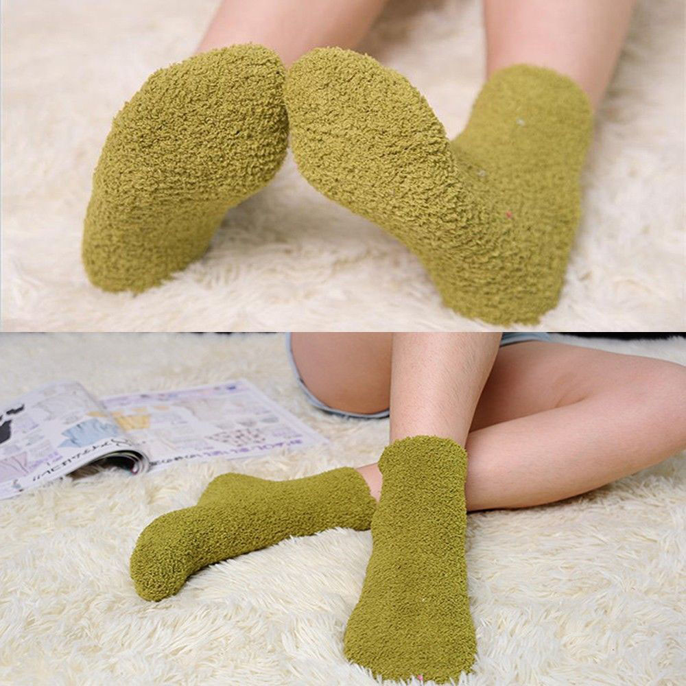 Home Women Girls Soft Socks Bed Floor Socks Fluffy Warm Winter Pure Color Solid Color Winter Warm Plush Cute Ladies Socks
