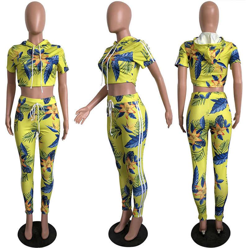 カジュアル花柄ツーピーススーツ女性クロップトップパーカー2ツーピースセット女性トレーナー縞模様のパンツレギンス宮殿夏