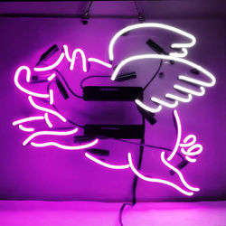 Flying Pig Glass Neon Light Sign