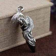 FNJ 925 Silver Phoenixจี้บริสุทธิ์ 100% S925 Solidเงินหินสีดำธรรมชาติจี้สำหรับผู้หญิงผู้ชายเครื่องประดับ