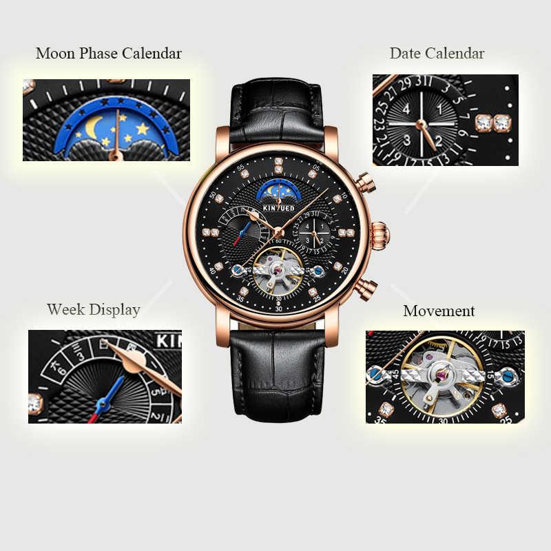 KINYUED Mond Phase Top Marke Mens Mechanische Uhren Automatische Tourbillon Skeleton Uhr Männer Kalender Relogio Masculino dropship