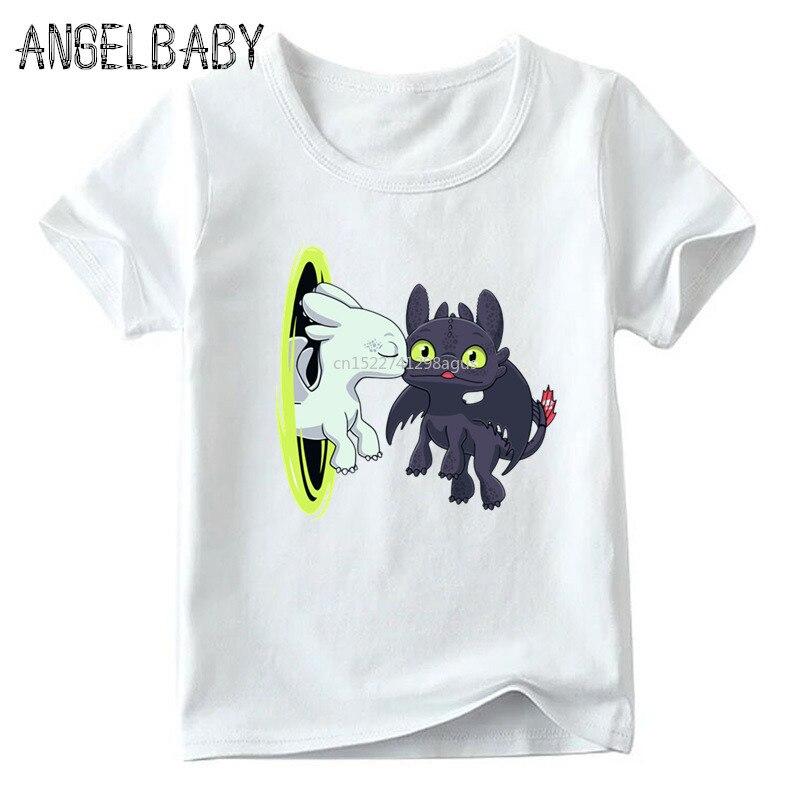 Boys/Girls Toothless The Night Fury Print Funny T-shirt Children Summer Short Sleeve Tops Kids Cartoon Cute Baby T Shirt,ooo5272