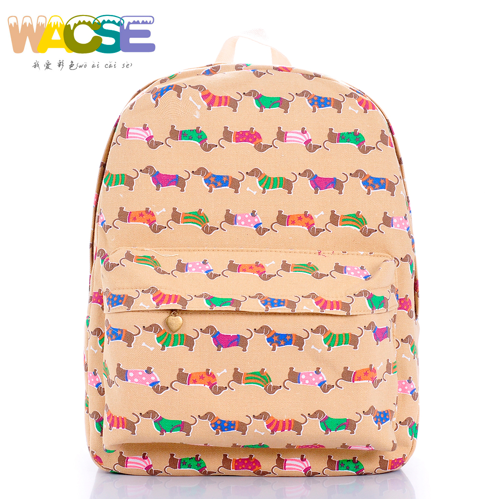 casual cute dachshund bag thickened canvas school backpack sausage dog printing casual canvas satchel men sling bag