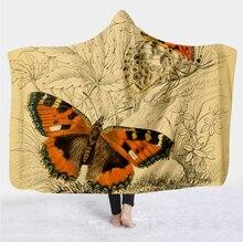 Plstar Cosmos Colorful butterfly insect Blanket  Hooded Blanket 3D full print Wearable Blanket Adult men women Blanket style-1 flamingos print blanket 1 pc
