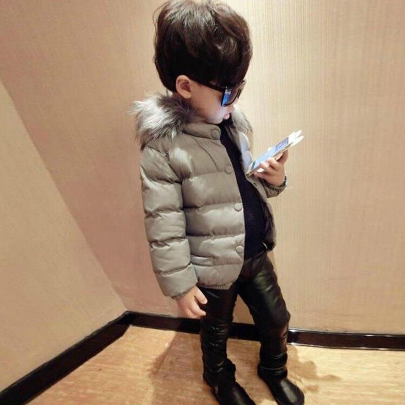 Çocuklar Pamuk Dolgulu Giysiler Kış Tarzı Saf Renk Uzun Kollu Kalınlaşmış Sıcak Giyim Moda Rahat Erkek Kapüşonlu Ceket Erkek