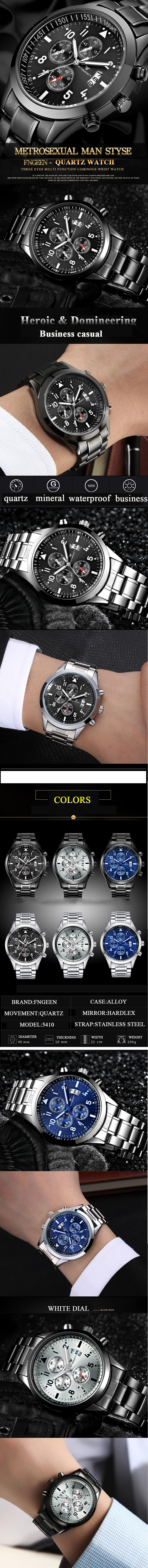 Luxury Men's Watch 30m Waterproof Date Clock Male Sports Watches Men Quartz Casual Wrist Watch black 25cm 1