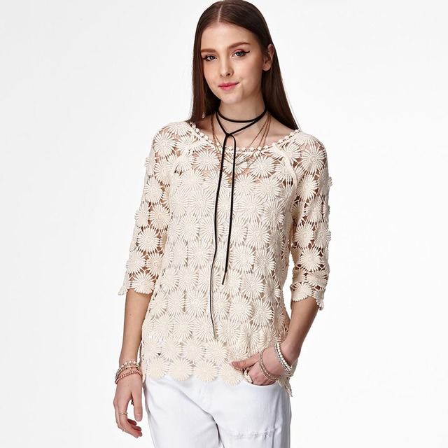 womens tops and blouses summer lace shirt floral hollow out blouse blusa feminina female summer top for 2018 Knit Tops female