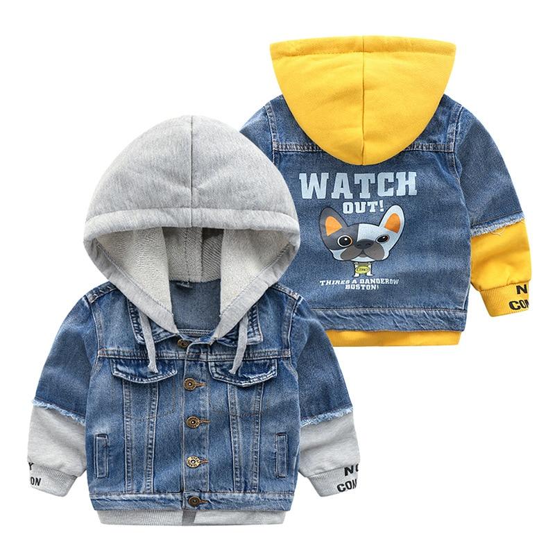 2018 Kids Denim Jacket Boys Jean Coat Clothing Fashion Casual Girls Cardigan Children Outerwear Cowboy Toddler Hooded 2-8yrs
