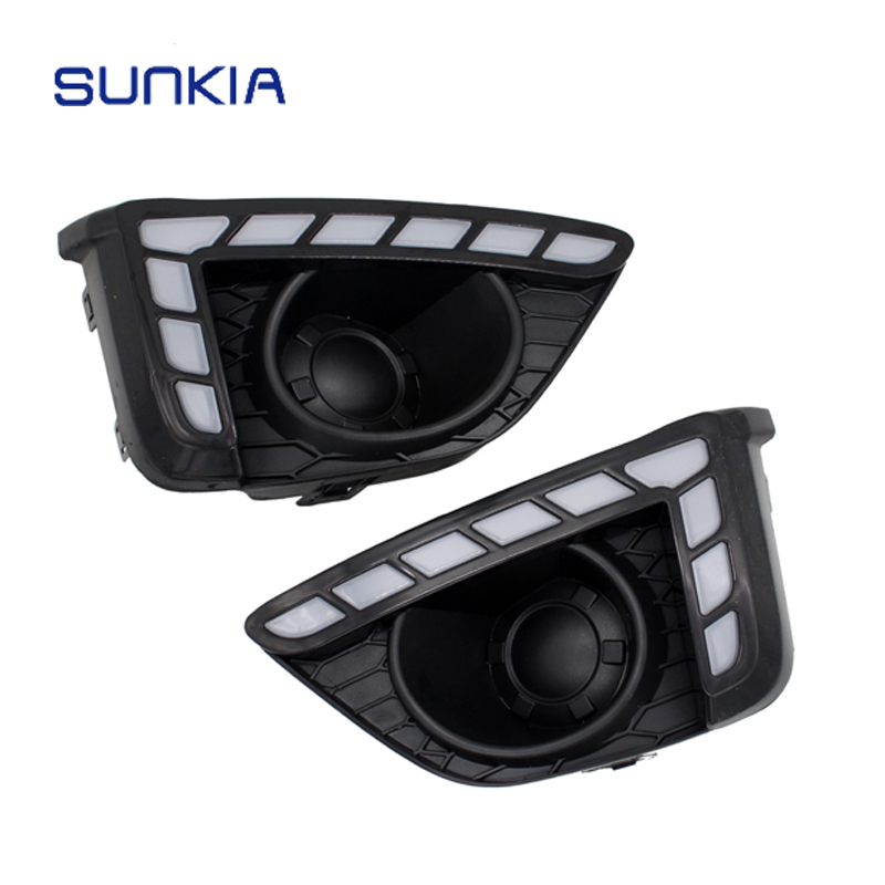 SUNKIA Day Light LED Daytime Running Light For Honda Fit 2014 2015 2016 With Yellow Color Turning Signal Lamp 12V DRL okeen 1pair led drl cars daytime running light waterproof cob white color day light yellow color fog light turning signal 12v