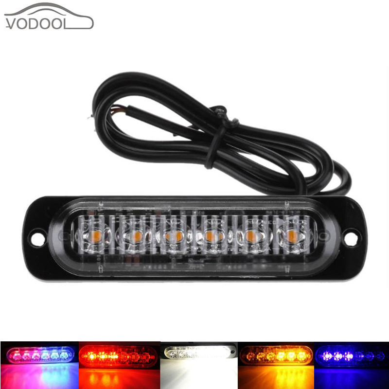 цена на 12-24V 6 LED Slim Flash Light Bar Auto Car Vehicle Light-emitting Diode Emergency Warning Strobe Lamp Truck Motorcycle Accessory