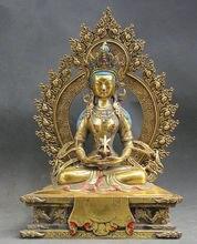 """004479 10 """"Tíbet Budismo Bronce Oro Amitayus longevidad Dios Diosa Estatua de Buda"""