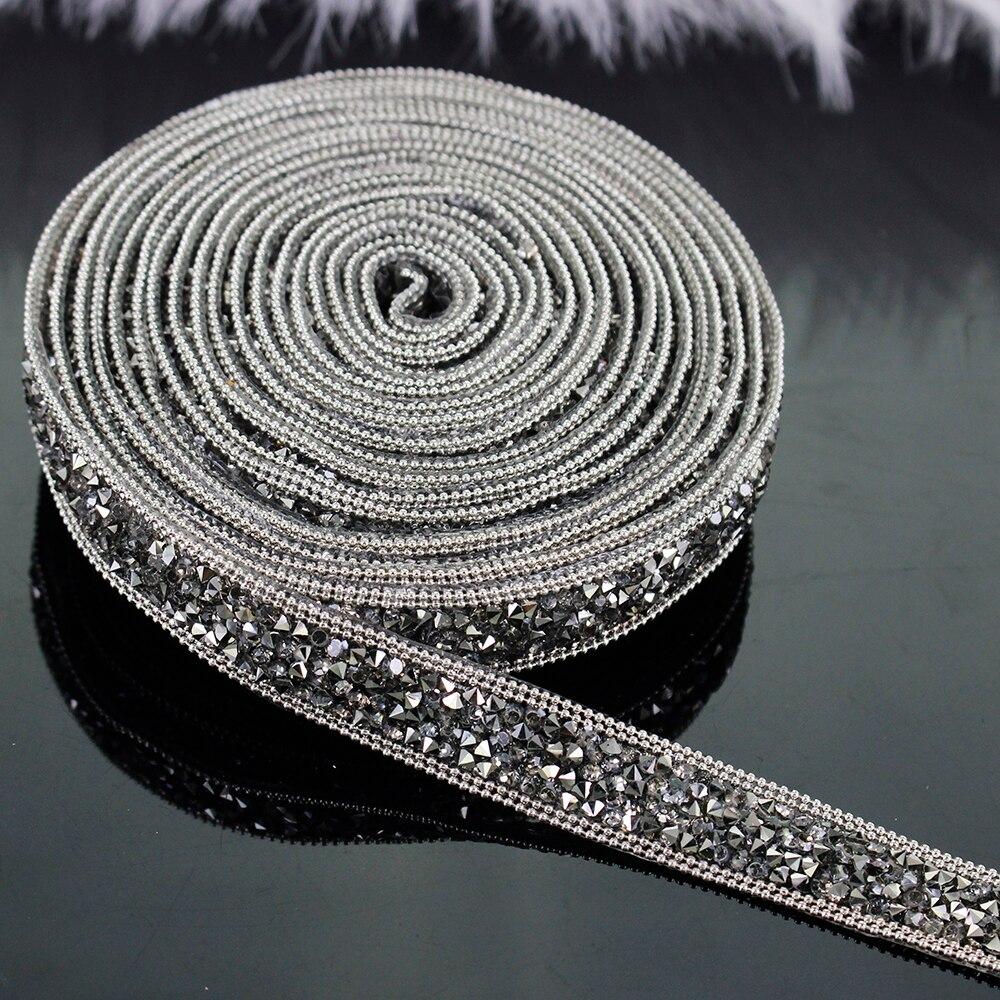 2yard Beaded Rhinestones Trim Chain Iron On Hotfix Crystal Reel Chain Costume Applique Embellishment Sewing Supplies