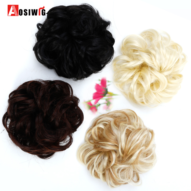AOSIWIG Short Curly Hair Heat Resistant Synthetic Chignons Natural Fake Rope Hair Bun Curly Clip In Hair Extensions Women