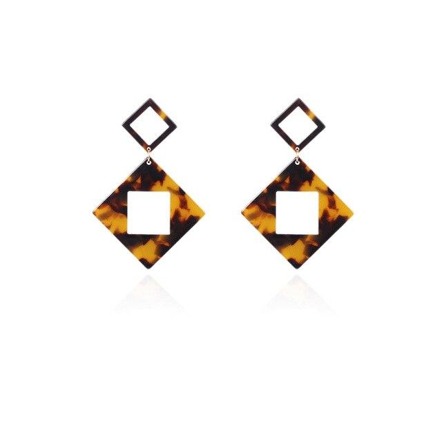 Купить геометрические серьги из ромбовидной смолы богемные акриловые
