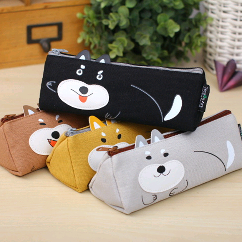 все цены на 4 pcs/lot Kawaii Dog pencil bag for school Canvas pencil case pen box storage pouch Stationery office school supplies