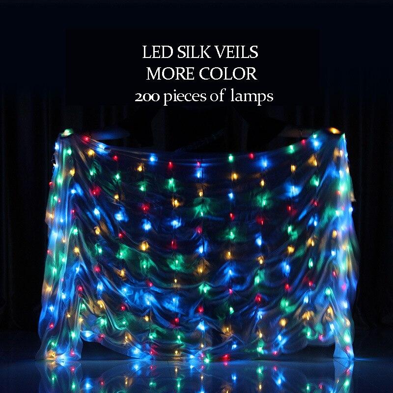 Scène Performance Prop danse porter 100% soie danse du ventre accessoires LED voile 200 pièces lampes (pile bouton)