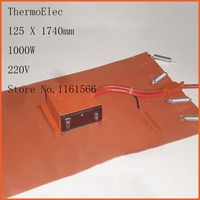 125 X1740mm 1000W 220V Universal Silicone Rubber Oil Heating Belt Heating Element Film Heater Flexible Heating