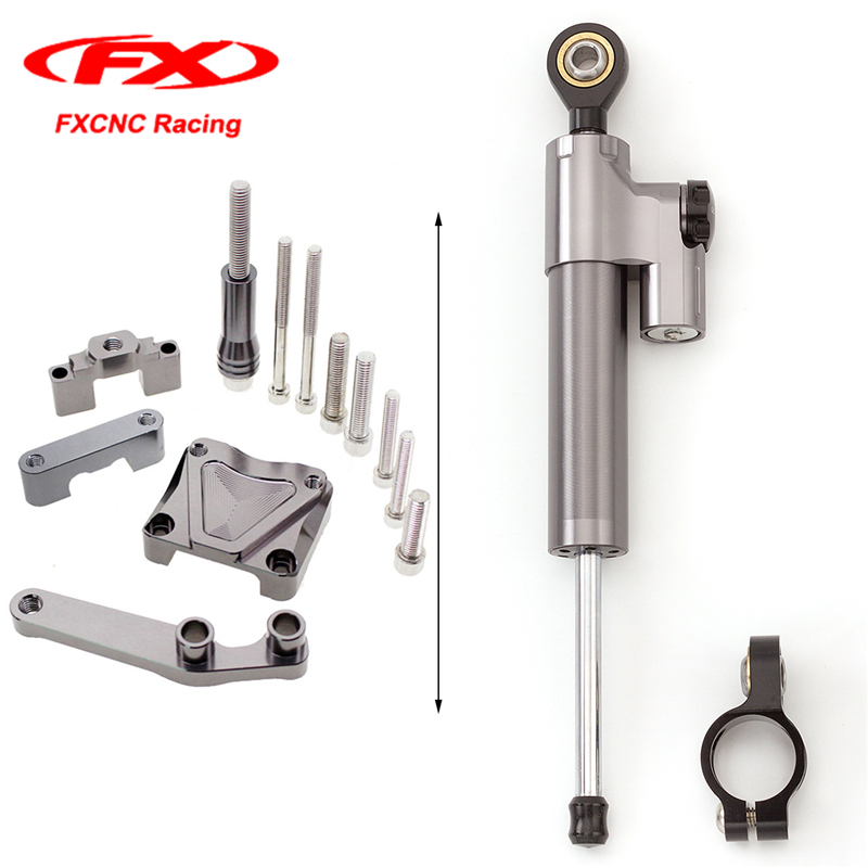 FXCNC Grey Motorcycle Accessories Steering Damper Stabilizer + Mounting Brackets for Kawasaki EX300 EX 300 NINJA300 13-16