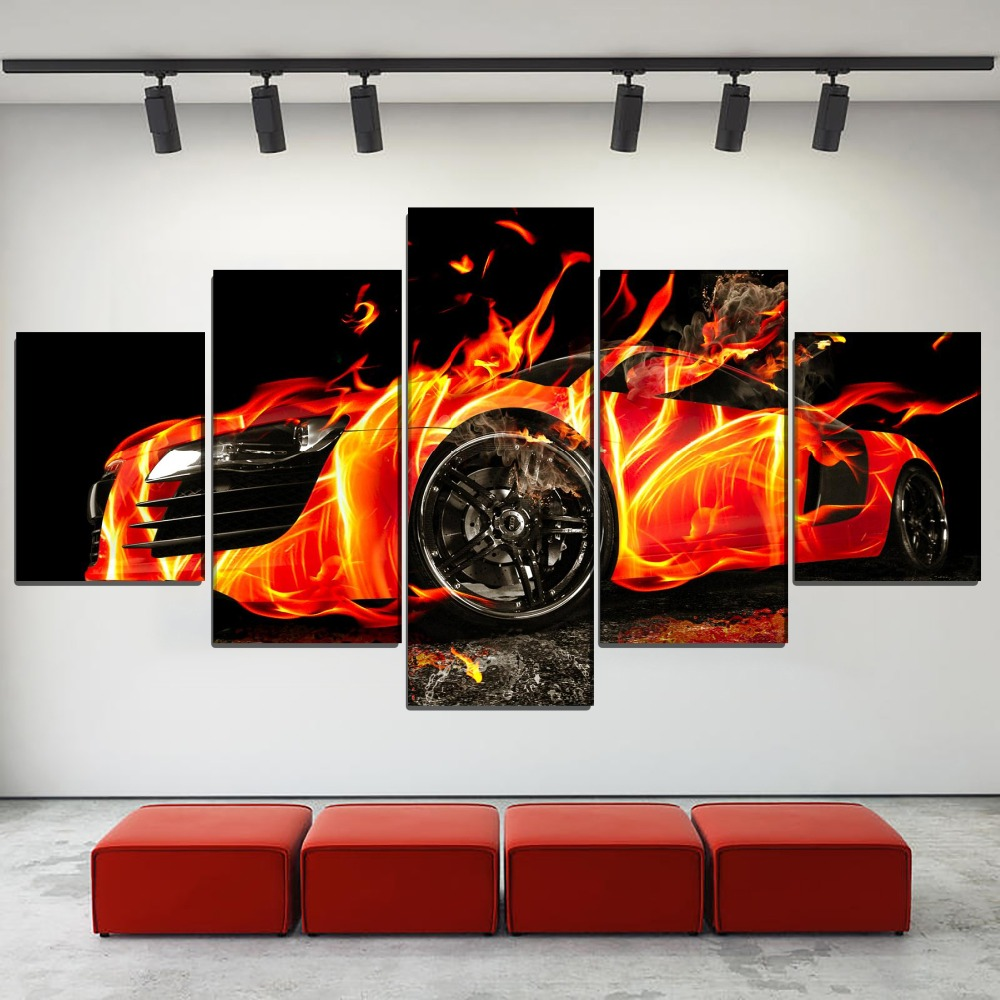 Poster Print Type Living Room Home Decor Wall Style Pictures 5 Piece Artistic Abstract Orange Fire Supercar Canvas Painting in Painting Calligraphy from Home Garden