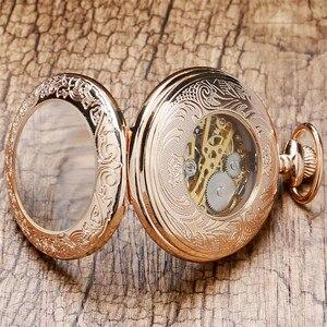 Image 5 - Antieke Rose Goud Transparant Glas Romeinse Cijfers Mechanische Hand Wind Zakhorloge Souvenir Hanger Klok Geschenken Mannen Vrouwen