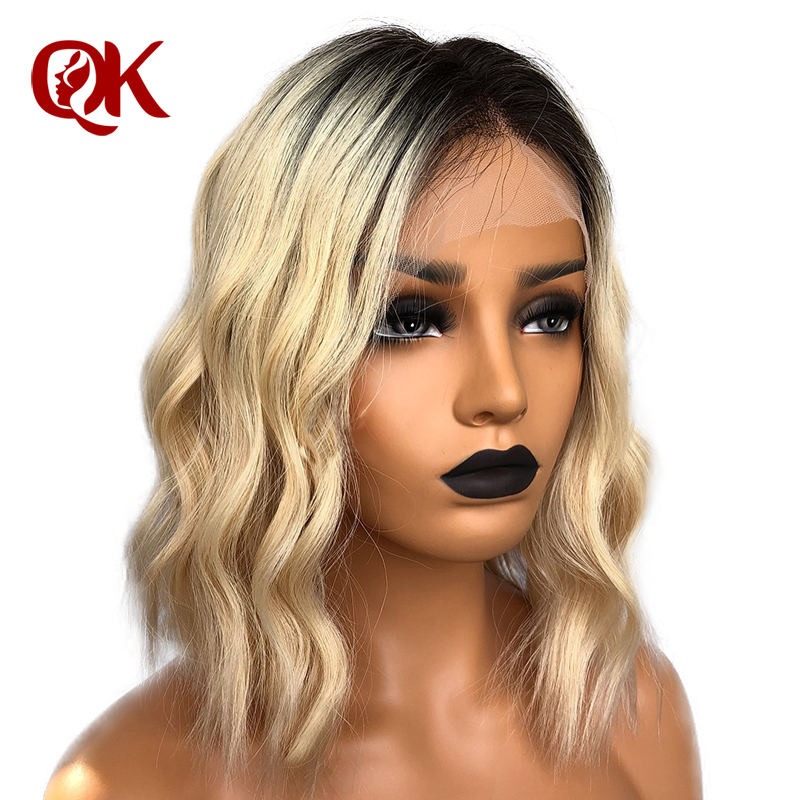 QueenKing hair Lace Front Wig 180 Blonde Ombre Hair 1B 613 Bob Wig Silky Straight Preplucked