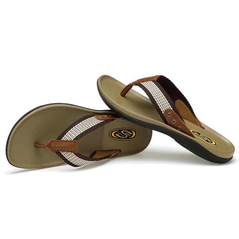 24d6406f94d ... 2019 High Quality Handmade Men Slippers Genuine Leather Mens Flip Flops  Summer Leather Slides Men Comfortable
