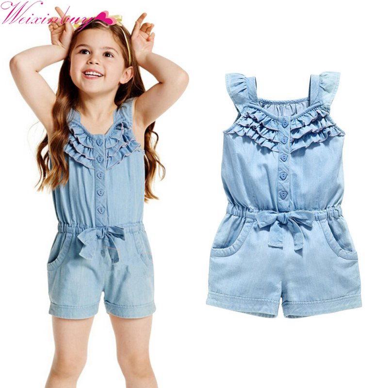 Kids Baby Girls Clothing Rompers Denim Blue Cotton Washed Jeans Sleeveless Bow Jumpsuit 0-5 Years Old