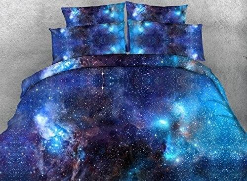 Warm Tour Comforter Sets Queen Size Luxury Blue Galaxy