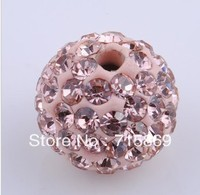 100pcs /LOT 10MM CZ Crystal shamballa beads For Pave Disco Balls Pink Color Free Shipping