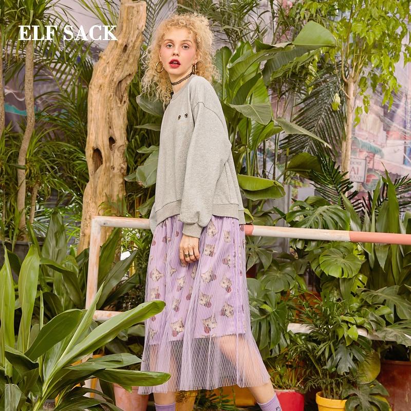 ELFSACK 2019 Spring New Cotton Woman Dress Vintage Full Natural A-line Women Dress O-Neck Oversized Floral Ladies Vestidos