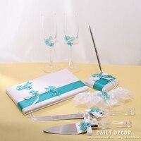 7 adet düğün aksesuar seti (ziyaretçi defteri + Kalem + Düğün Flüt + Jartiyer + Kek Sunucuları/Düğün bıçak) ücretsiz kargo