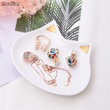 NOOLIM Resin Cute Cat Ear Jewelry Ring Necklace Tray Jewelry Storage Tray Phnom Penh Jewelry Tray Tabletop Decorative Ornaments(China)