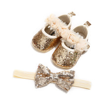 Baby Girl Shoes+Headband Newest Fashion Moccasin Infant Toddler Baby Girl Princess 3D Flower Sequins PU Crib Shoes Bow Hairband(China)